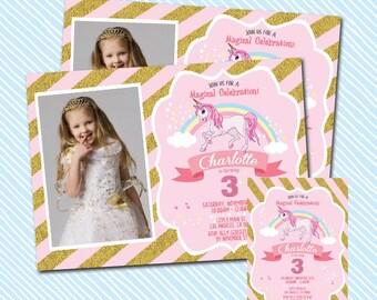 Digital Printable Unicorn Birthday Invitation. Girl Birthday Party. Magical celebration birthday