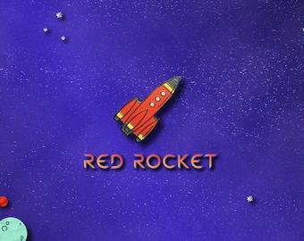 Red Rocket Space Enamel Pin