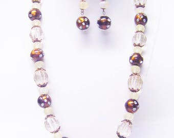 Chunky Copper Brown/Tinted Acrylic Bead Necklace & Earrings Set
