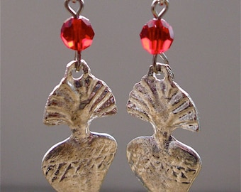 Silver heart milagro earrings,Mexican earrings with red crystal bead, Milagro earrings on long wire