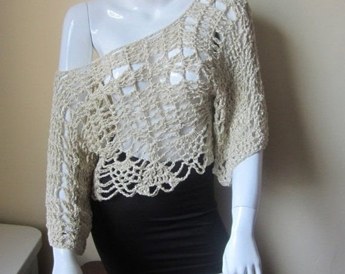 Cropped off shoulder top, boho top, festival top, gypsy top, cream top, scoop neck, boat neck, bamboo yarn
