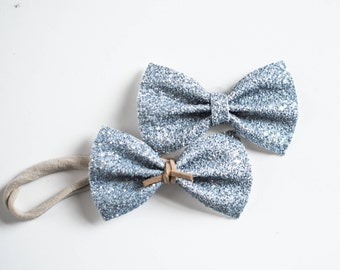 Gunmetal Grey Glitter Bow