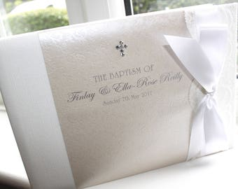 Personalised Handmade Confirmation Christening Baptism Guest Book by Charlotte Elisabeth GB002