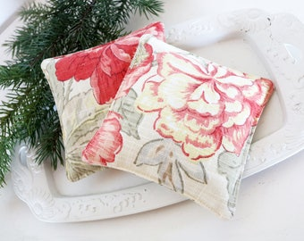 Pair of Red Floral Lavender Sachets, Cottage Decor, Scented Drawer Sachets