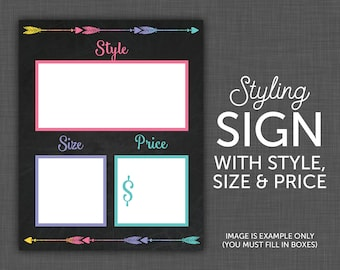Clothing Sign, Size Card, Style Name Card, Price Card, Combo - Tags - BLANK - 8x10 Printable