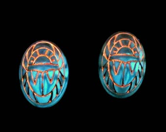 Glass Scarab Earrings Aqua Blue Gold Engravings Scarab Egyptian Post Earrings