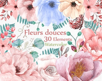 """Watercolor floral clipart: """"WEDDING FLOWERS"""" wedding clipart DIY invite Peonies clipart floral clip art watercolor flowers separate flowers"""