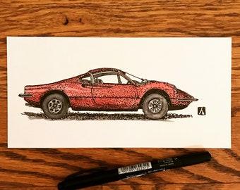 KillerBeeMoto: Original Pen Drawing With Water Color of Vintage Dino 246 Sports Car