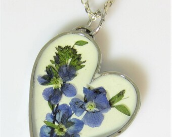Blue Veronica Pendant,  , Pressed Flower Jewelry, Real Flowers Necklace  Pressed Flower Jewelry, Resin, (2065)