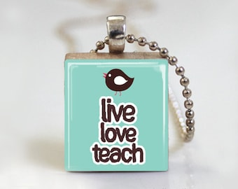 TEACHER - Scrabble Pendant Necklace with Ball Chain Necklace or Key Ring