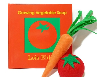 Felt Vegetable Gift Set with bonus Growing Vegetable Soup book - gift packaging included!! eco-friendly felt play foods!