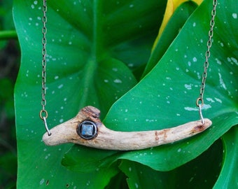 Driftwood & moonstone antique brass necklace SALE