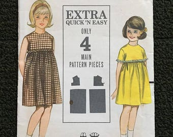 Vintage 60's Girls Dress Easy to Make Butterick 3481 Sz 10