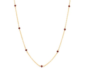Delicate Gold and Garnet Chain Necklace - 16in. Necklace - 14k Gold Filled - Small Faceted Red Garnet Gemstones - Gold Chain