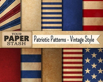 Vintage Patriotic Digital Paper, 4th of July Scrapbook Page, Distressed Textured Backgrounds, Stars & Stripes, Americana, Commercial Use