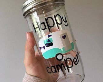 Happy Camper Tumbler, no glitter, custom vinyl color available