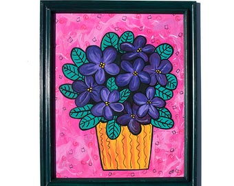 African Violets Painting - Original Purple Floral Art - Purple and Pink Mixed Media Still Life Painting by Claudine Intner