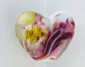 Heart lampwork Focal Bead
