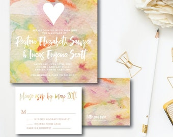 Peyton and Lucas Printed Wedding Invitations | Watercolor Boho Design | Printed by Darby Cards Collective