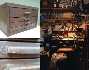 Vintage Industrial Steel 4 Drawer Watchmaker Cabinet,  Storage, Watch Parts Cabinet, Jewelers, Brown, Faux Wood Grain, Mid Century, Antique