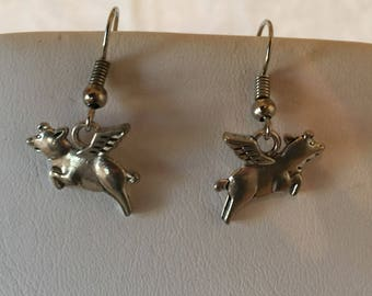 Flying Pig Charm Silver Tone Pierced Earrings