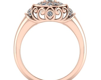 Diamond Halo Moissanite Engagement Ring  - The Quest