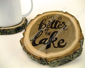 Rustic Wood Coaster - Life is Better at the Lake - Lake House Drink Coaster - Wood Coasters - Better at the Lake - Rustic Coaster - Hostess