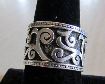 Wide Sterling Silver Band with Scroll Design Size 9 3/4