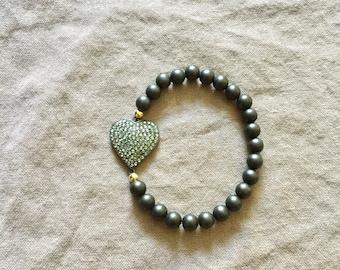 Ebony Stretch Bracelet with Pave Diamond Heart