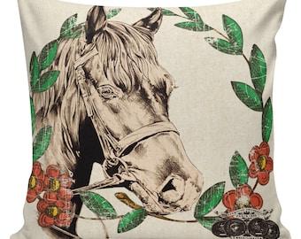 Cushion Cover, Horse Pillows, Equestrian Pillow Covers, Couch Pillows, Throw Covers, Sofa Pillows, Made in USA, Burlap Pillows, #AN0102