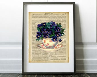 Pansies in a teacup, teacup with flowers on vintage french book, Digital Download, Printable Art, Home Decor, Kitchen and Dining decor