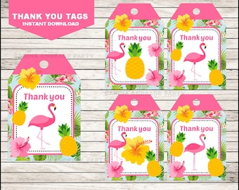 Flamingo Thank you tags instant download, Pineapple Tags, Pink Party Pool Party Thank you tags