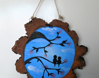 Love Bird Silhouette Wooden Hanging Ornament