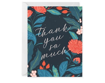 Thank You Card - Thank You Dark Floral Card - Single Card Blank Inside