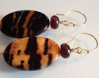 Tiger Shell Disk Earrings Handmade