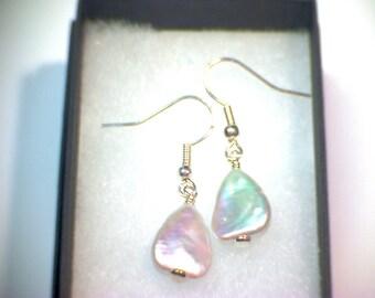 Sterling Silver Earrings, Hookwire Drop, Dangle. Fresh Water Triangle Pearl.