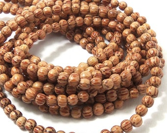 Palmwood Bead, 4mm - 5mm, Round, Smooth, Natural Wood Beads, Very Small, 16 Inch Strand - ID 1414