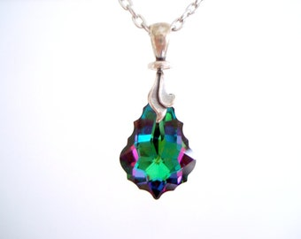 Swarovski Pendant Necklace Electra Baroque multicolor crystal pendant on chain with rotating swivel bail