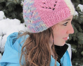 Knit Hat Teen Youth Colorblocked Pink Ivory Blue Variegated Stockinette with Lace Design Ribbed Cuff