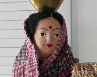 Vintage Souvenir Doll India / Cloth Doll India / Hindu Woman with Baby / Hindu Cloth Doll / Folk Art Cloth Doll / Bohemian Style