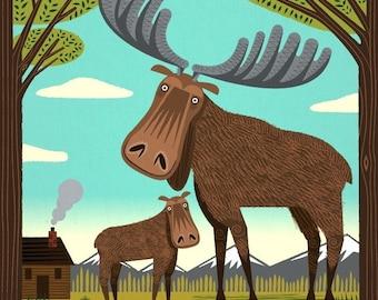 The Magnificent Moose - Animal Art - Limited Edition Print - iOTA iLLUSTRATION