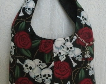 Skull Purse With Crossbone Charm, gothic purse goth purse fantasy purse pirate purse halloween purse day of the dead cotton womens purse