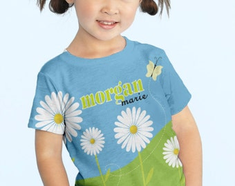 Girls Flower Shirt, Personalized Easter Daisy Field T-Shirt, Childrens Clothing, Custom Top