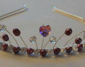 Clear bead & pink fresh water pearl tiara with pink Swarovski crystal heart on a silver tone headband