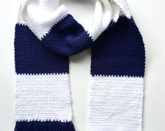Jacob's Rugby Stripes Crochet Fringed Scarf
