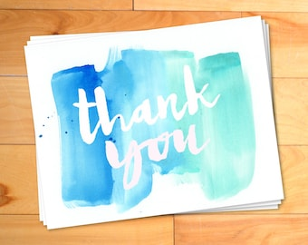 Thank You Cards, Watercolor Thank You Cards, Kids Thank you Cards, Script, Typography, Personalized Notecards,12