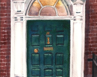 Watercolor Dublin Georgian Door #1 Print 8 x 10
