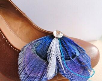 OLIVIA Blue Peacock Shoe Clip, Wedding