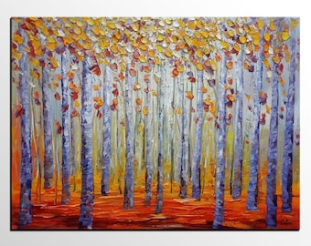 Oil Painting Original, Landscape Painting, Autumn Painting, Abstract Painting, Canvas Art, Canvas Painting, Large Abstract Art, Autumn Tree