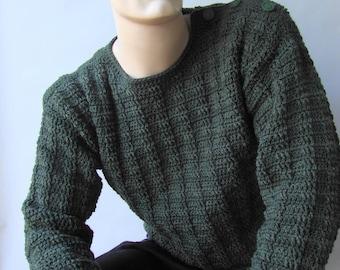 Men's Sweater, Men's Wool Sweater, Men's Crochet Sweater, Button Shoulder Sweater, Pullover, Jumper, Hunter Green Sweater,  Available in S/M